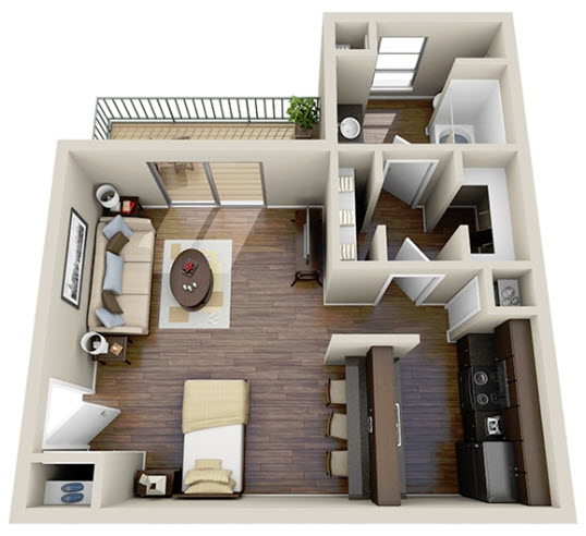 512 sq. ft. Efficiency floor plan