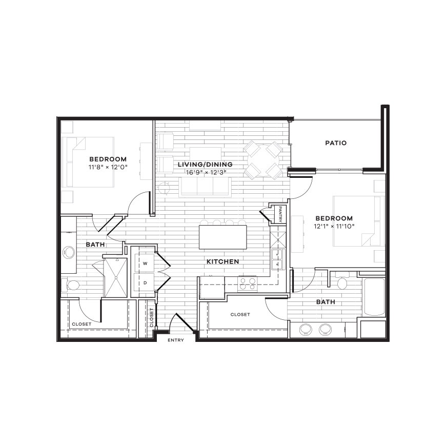 1,110 sq. ft. 2A floor plan