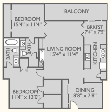 1,080 sq. ft. B-3 floor plan