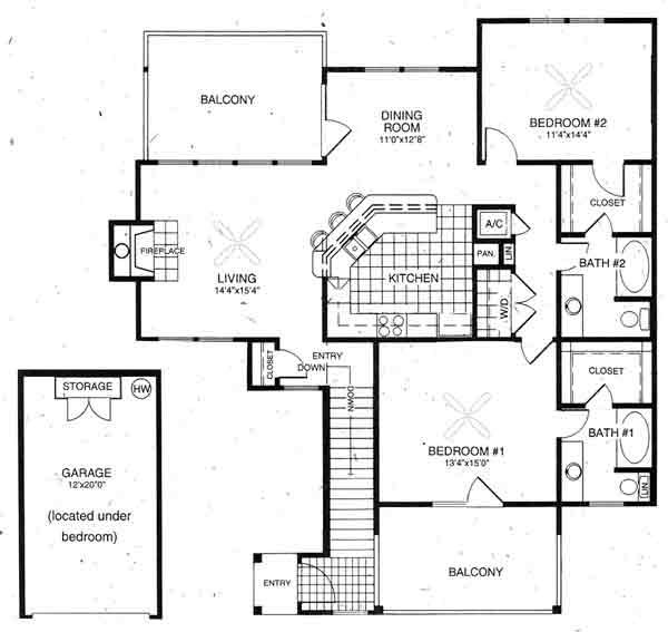 1,391 sq. ft. Waterford floor plan