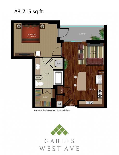 715 sq. ft. DA3 floor plan