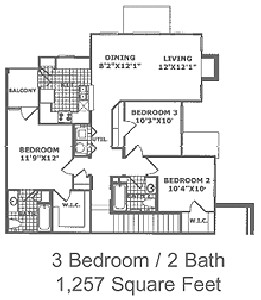 1,257 sq. ft. C2 60 floor plan