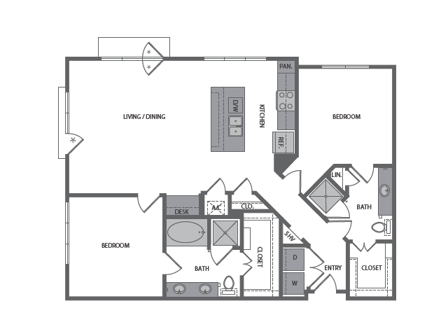 1,297 sq. ft. H floor plan