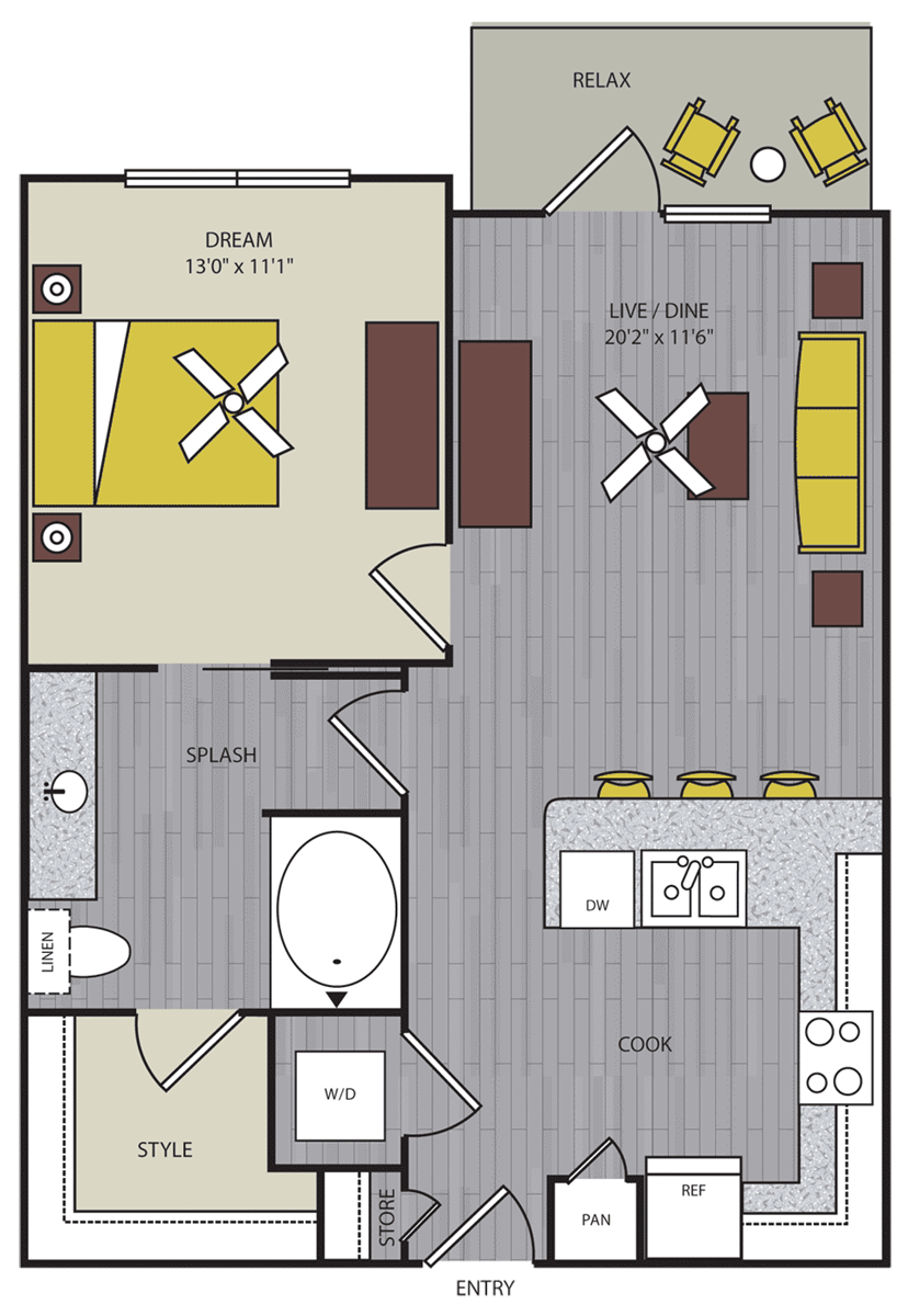 686 sq. ft. to 888 sq. ft. A1 floor plan