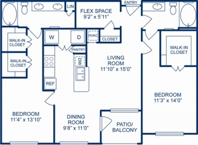1,215 sq. ft. TAMPA floor plan