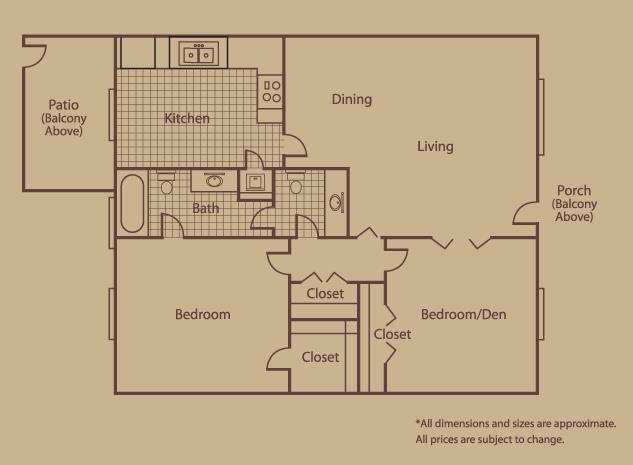 1,059 sq. ft. D floor plan