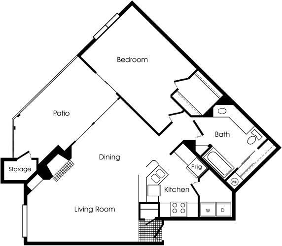 854 sq. ft. 1C floor plan