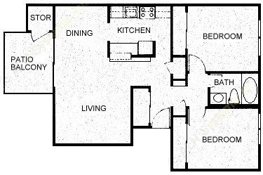 841 sq. ft. B1 floor plan