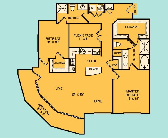 1,466 sq. ft. C5 floor plan