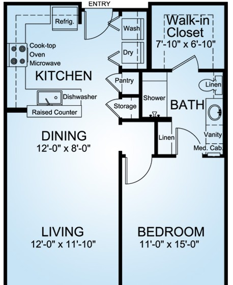 762 sq. ft. MONTE VERDE floor plan