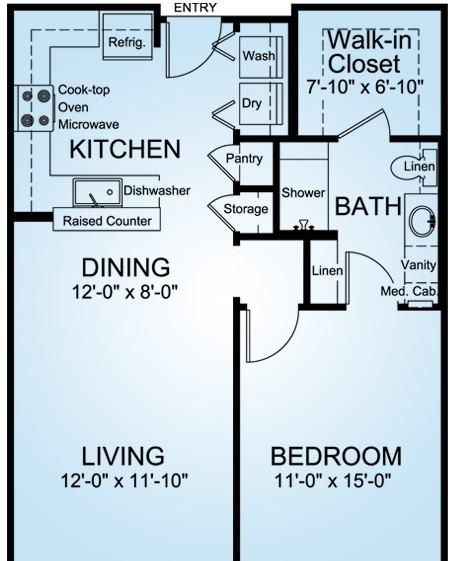 762 sq. ft. Monte Verde floor plan