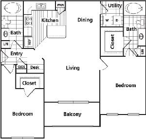 1,117 sq. ft. D floor plan