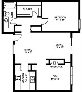 918 sq. ft. A3 floor plan