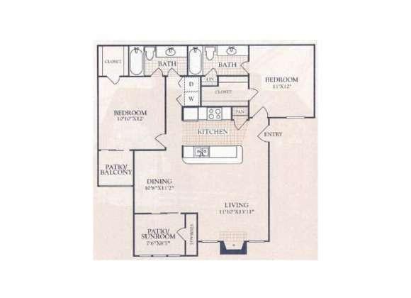 1,068 sq. ft. B1S floor plan