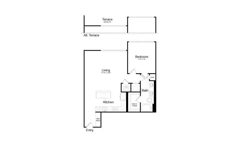 903 sq. ft. A9 floor plan