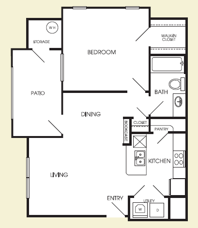 693 sq. ft. Manhattan floor plan
