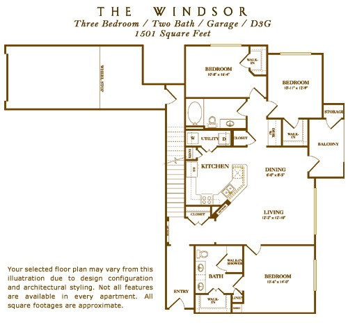 1,501 sq. ft. Westbrook floor plan