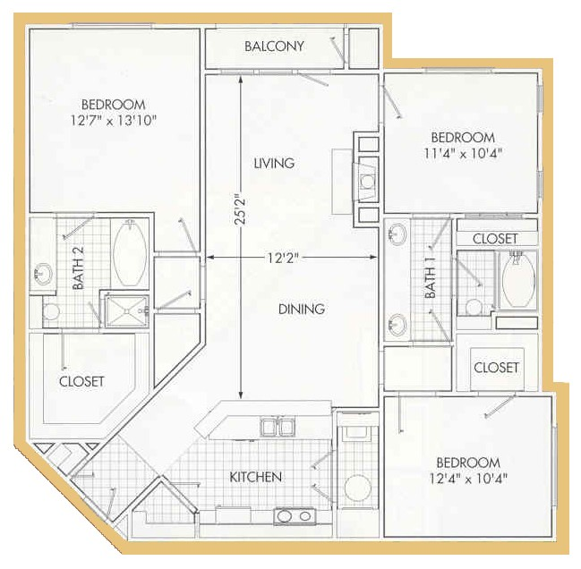 1,368 sq. ft. B6 floor plan