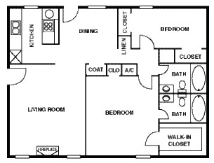 1,100 sq. ft. 50% floor plan