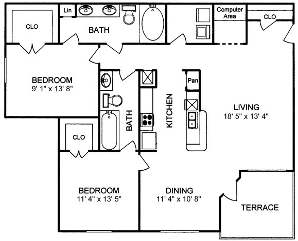 1,227 sq. ft. floor plan