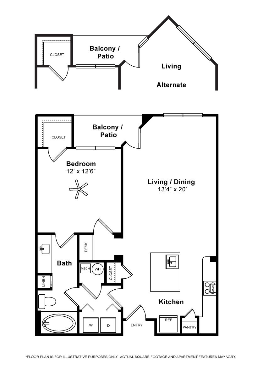799 sq. ft. to 804 sq. ft. Genova floor plan