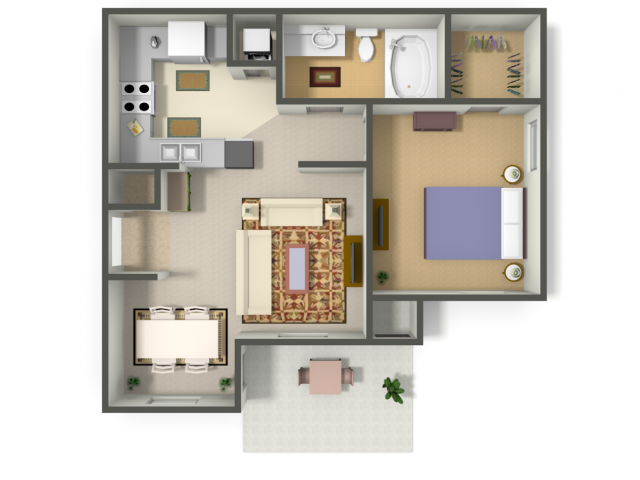599 sq. ft. ACAPULCO (A1) floor plan