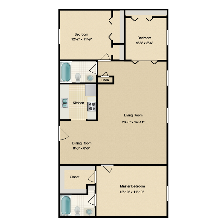 1,230 sq. ft. floor plan