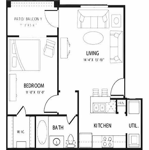608 sq. ft. Halo floor plan
