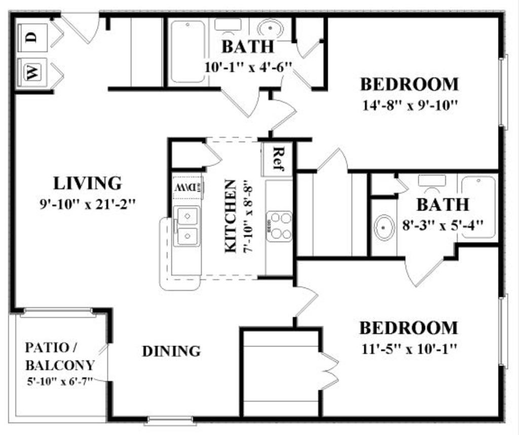 1,099 sq. ft. E floor plan