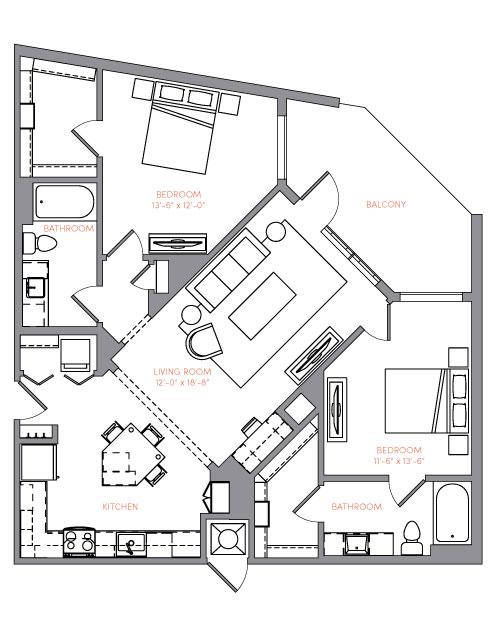 1,159 sq. ft. B3A floor plan