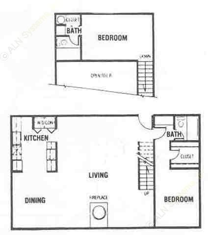 1,188 sq. ft. C floor plan