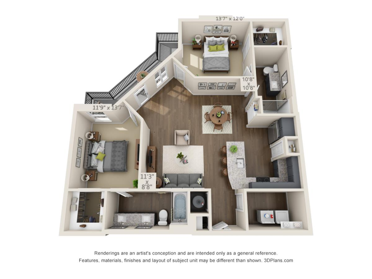 1,208 sq. ft. B3B floor plan
