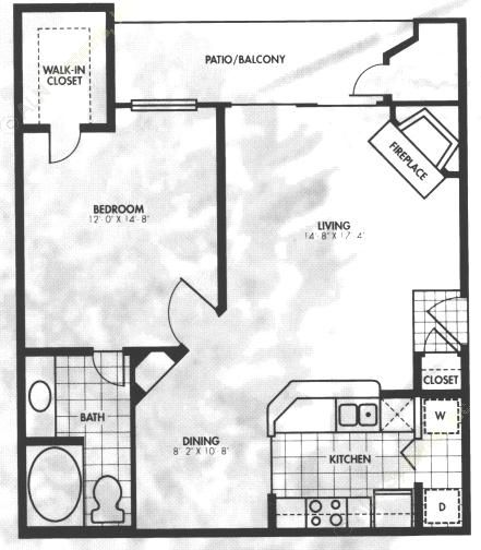 794 sq. ft. A5 floor plan