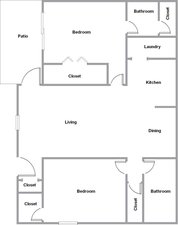 879 sq. ft. D floor plan