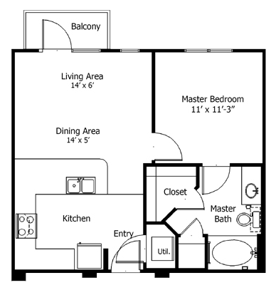 552 sq. ft. to 840 sq. ft. 5a2 floor plan