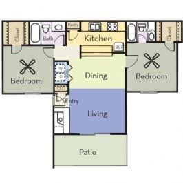 936 sq. ft. B2A/MAPLE floor plan