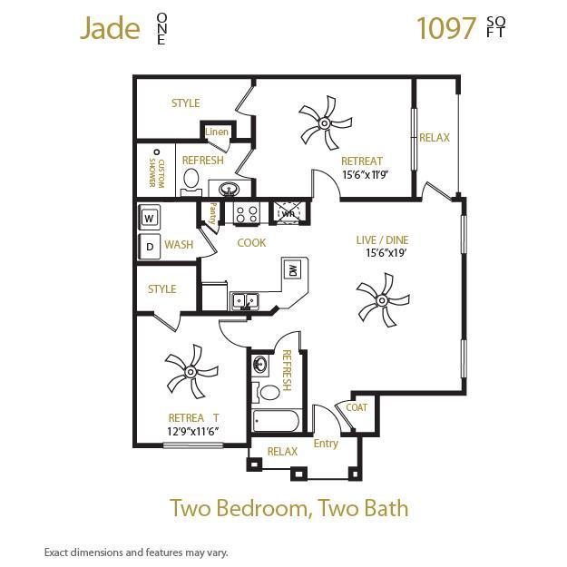 1,097 sq. ft. Jade 1 floor plan