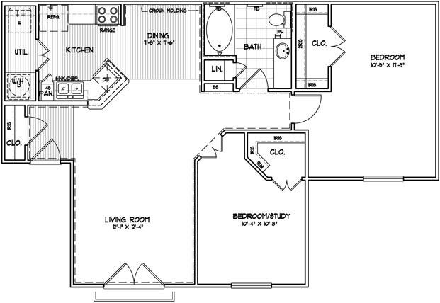 1,016 sq. ft. B floor plan