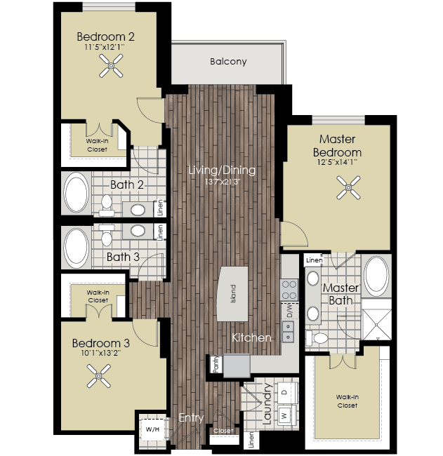1,645 sq. ft. to 1,668 sq. ft. C1 floor plan