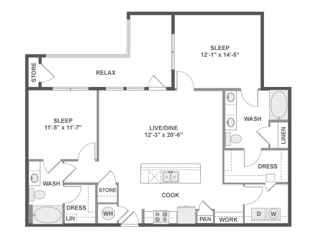1,199 sq. ft. C5 floor plan