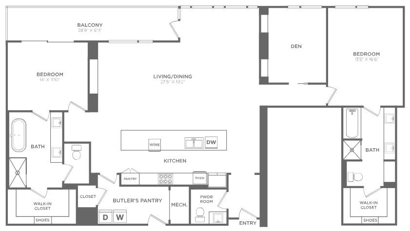 2,124 sq. ft. PH6 floor plan