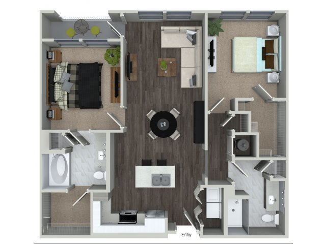 1,069 sq. ft. B1.1 floor plan