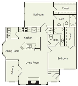 1,193 sq. ft. D floor plan