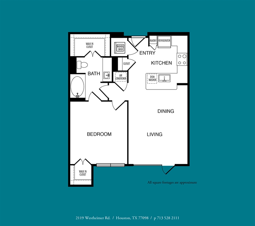 762 sq. ft. A6 floor plan