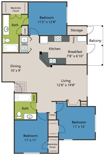1,321 sq. ft. C1 floor plan