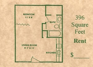 396 sq. ft. floor plan