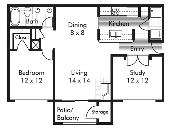 926 sq. ft. Concord floor plan