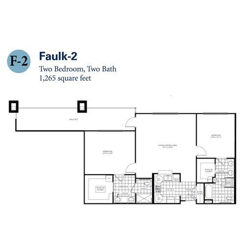 1,265 sq. ft. Faulk 2 floor plan