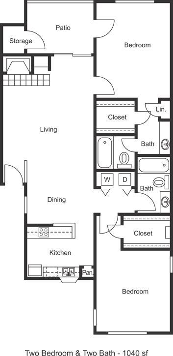 1,040 sq. ft. floor plan