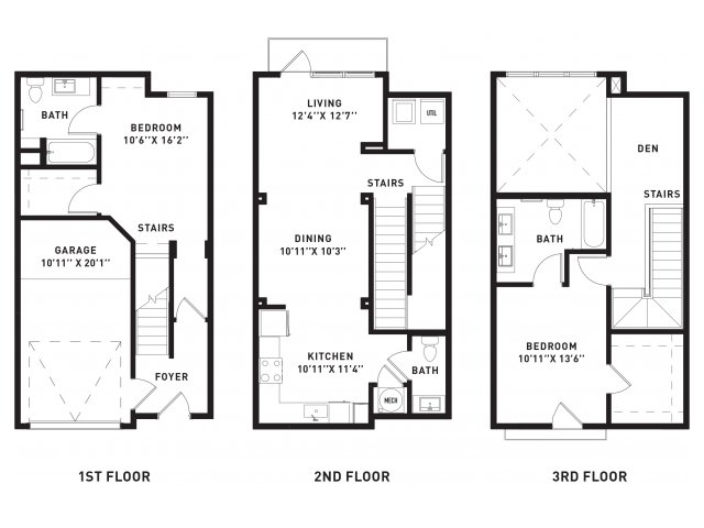 1,400 sq. ft. TH1 floor plan